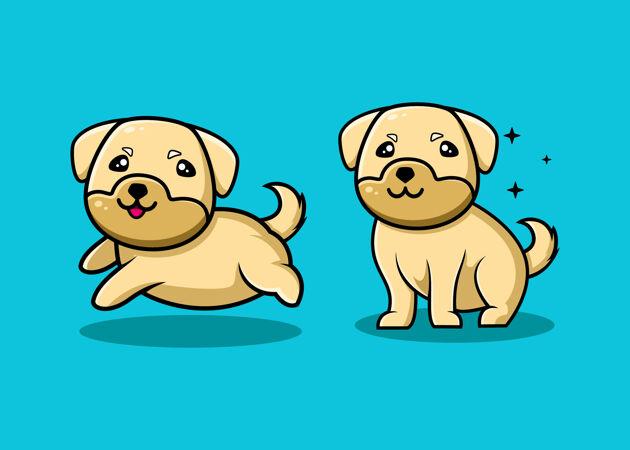 可爱的狗卡通人物
