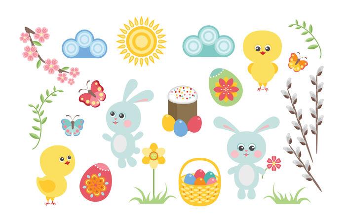 复活节有兔子 鸡肉 鸡蛋和鲜花