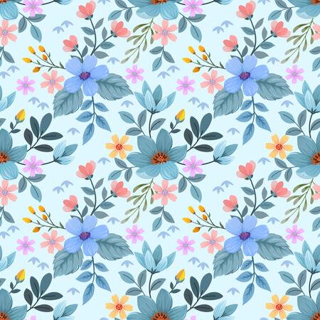 彩色手绘花卉无缝图案