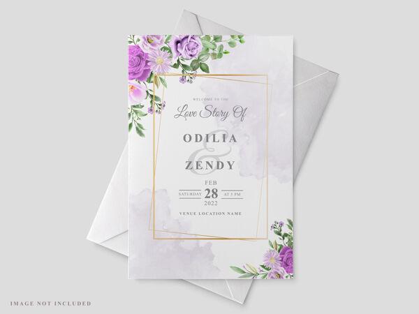 美丽的花卉手绘婚礼请柬模板
