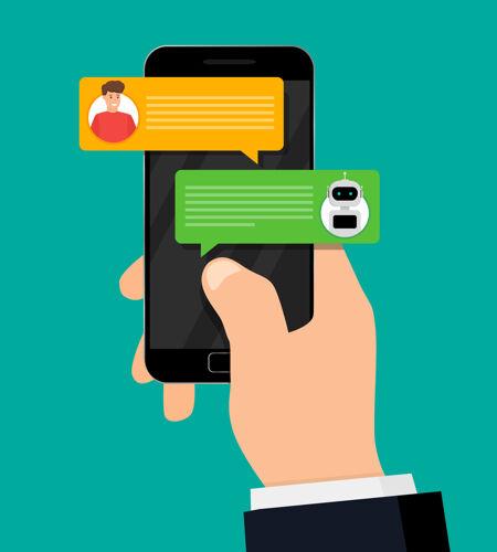 和机器人聊天手持智能手机 可与机器人进行人机对话
