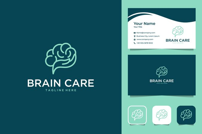 脑护理手线艺术风格的标志设计和名片