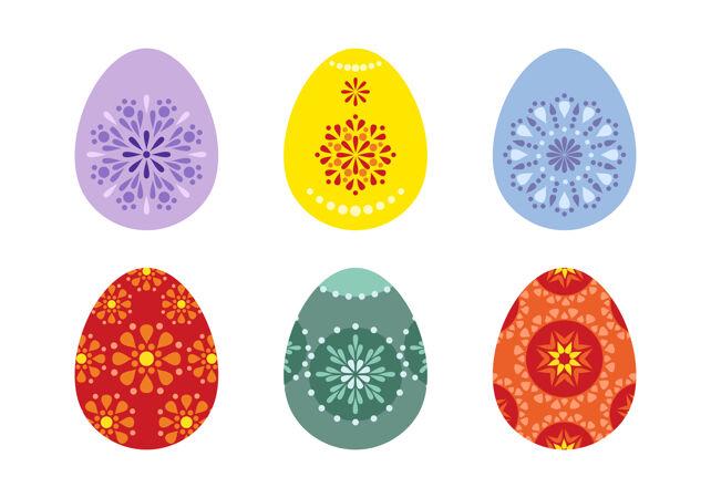 一套彩绘有传统图案的复活节彩蛋