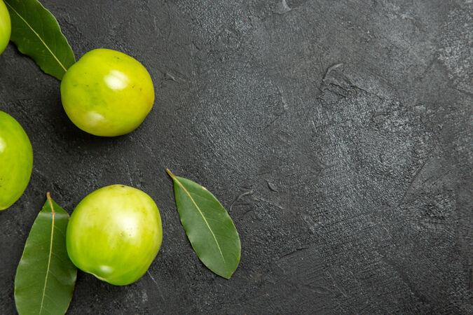 顶视图绿色的西红柿湾叶子在黑暗的表面左侧