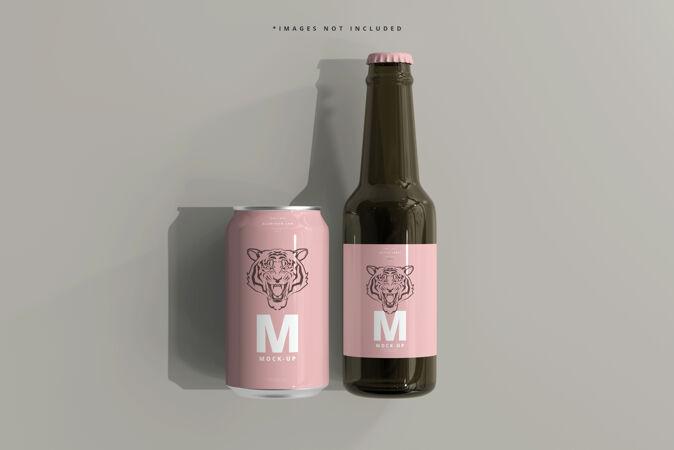 330ml中型苏打水或啤酒罐和瓶子模型