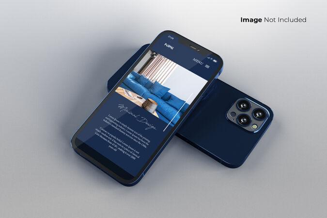 全屏幕蓝色智能手机模型设计