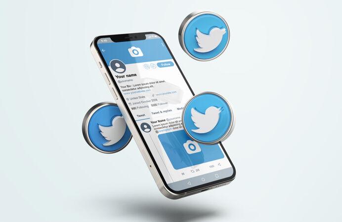 推特上的银色手机模型与三维图标