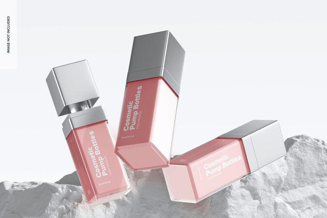 化妆品泵瓶子模型 下降