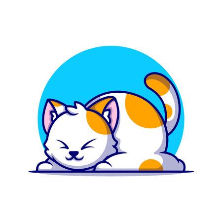 可爱的胖猫睡觉卡通图标插图动物自然图标概念隔离平面卡通风格