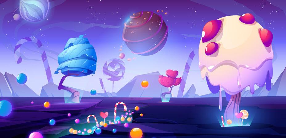 糖果星球卡通插图与幻想外星人的树木和糖果魔术不寻常的自然景观