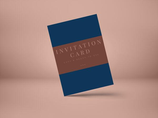 婚礼请柬模型设计的介绍贺卡或邀请设计与阴影覆盖