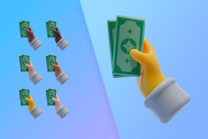 手拿钞票的3d收藏