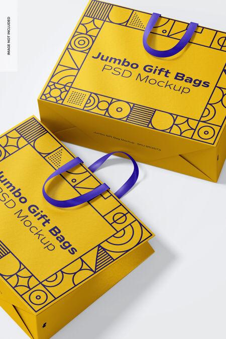 巨型礼品袋与丝带处理样机 特写