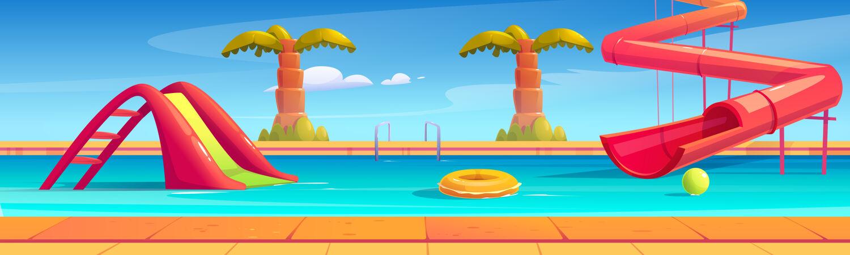 横幅与水上公园游泳池 水滑梯和手掌