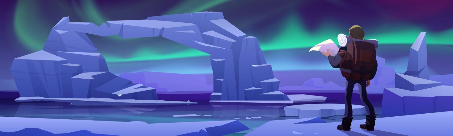 北极冰川上的徒步旅行者