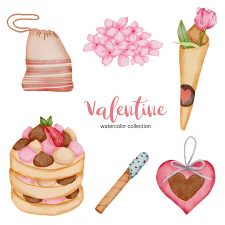 情人节集元素 心 草莓;礼物 蛋糕等等