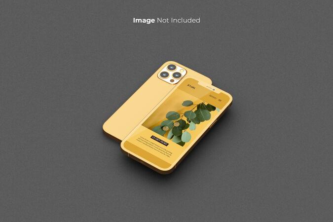 全屏金色智能手机模型设计