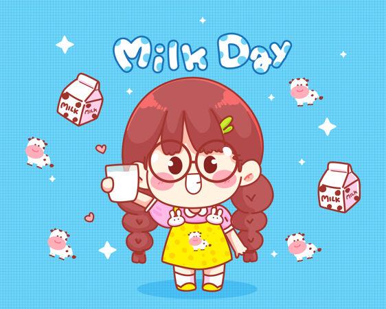 可爱的女孩微笑着手里拿着一杯牛奶 牛奶日插图
