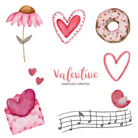 情人节套装元素信封 向日葵 甜甜圈 礼品等