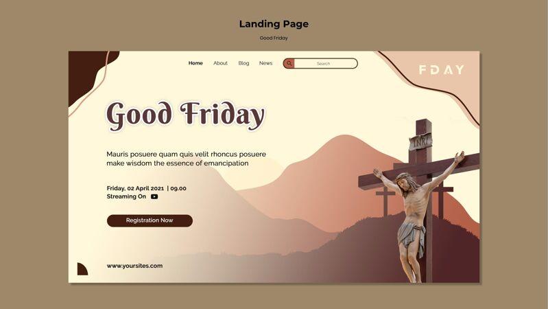 耶稣受难日登陆页模板与照片