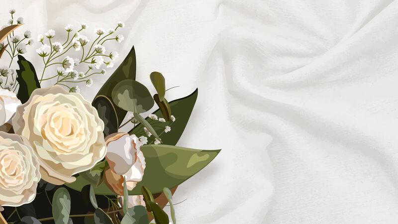 白色丝质背景上的花束