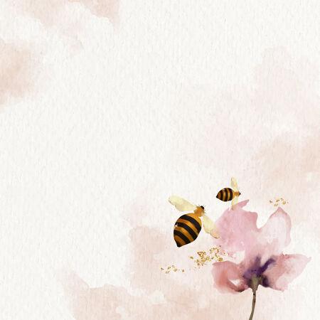 蜜蜂和花朵水彩背景