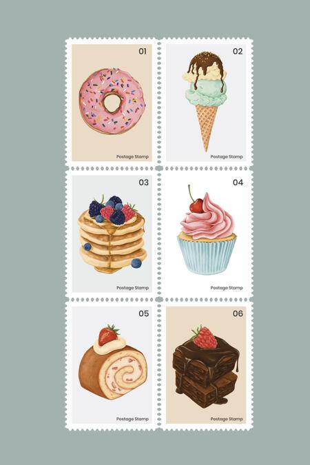 可爱的糕点和糖果邮票集