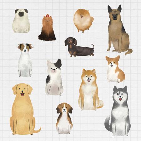 友好的狗水彩绘画收藏