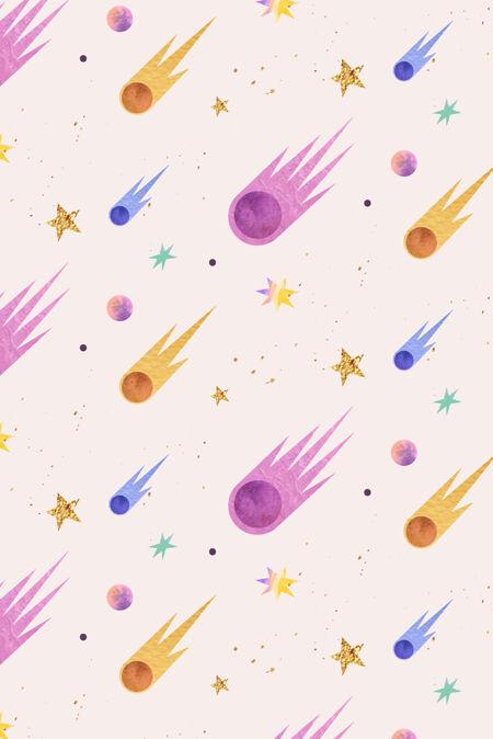多彩的银河水彩与彗星涂鸦