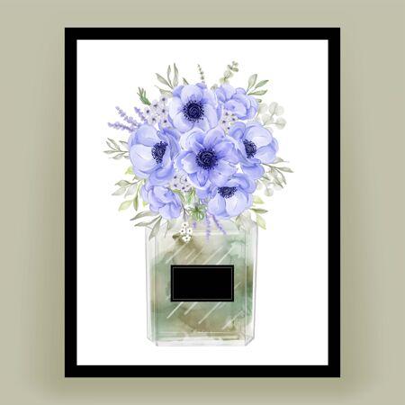 香水与海葵花水彩插图