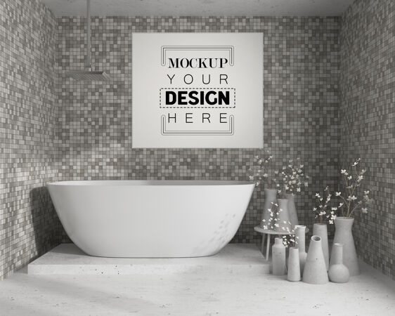 浴室内部的墙壁艺术或画框模型