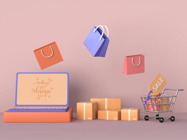 网上购物与笔记本电脑模型模板和购物元素