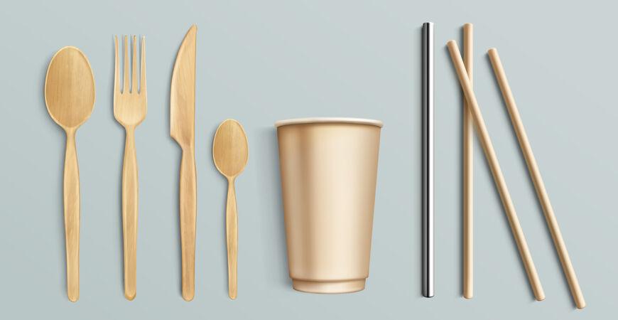 木制餐具 纸杯和金属吸管