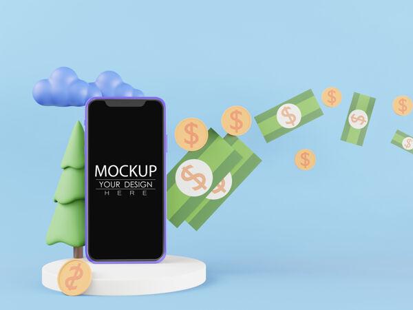 黑屏智能手机模拟与金钱