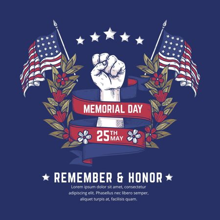 手绘美国阵亡将士纪念日插图