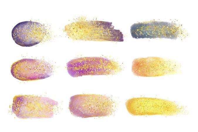 手绘水彩画污渍和笔触与黄金和闪光