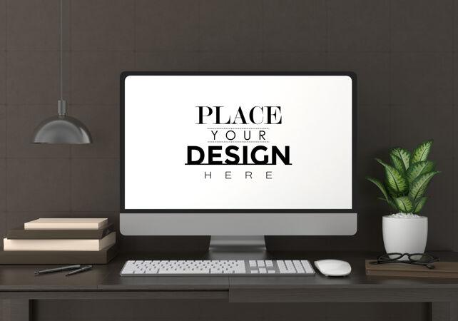 电脑在工作台上的psd模型