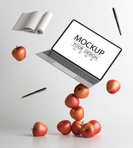 办公桌上的笔记本电脑psd模型