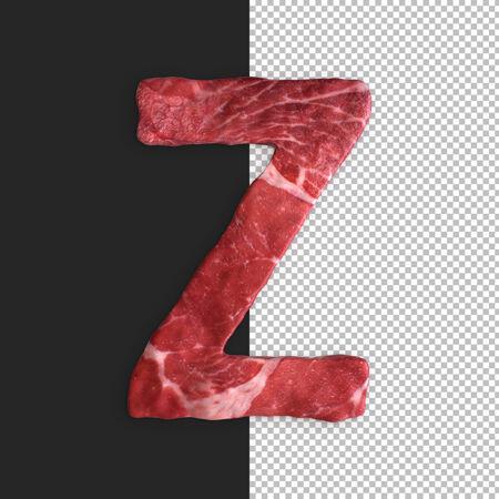 黑色背景上的肉类字母 字母z