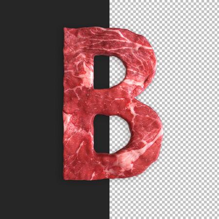 黑色背景上的肉字母 字母b