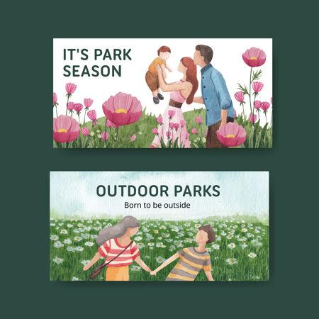 Twitter模板与公园和家庭概念设计的社会媒体水彩插图
