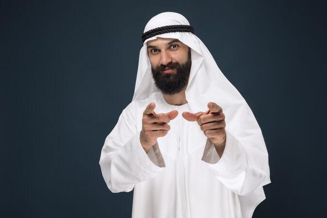深蓝色工作室阿拉伯沙特商人半身像