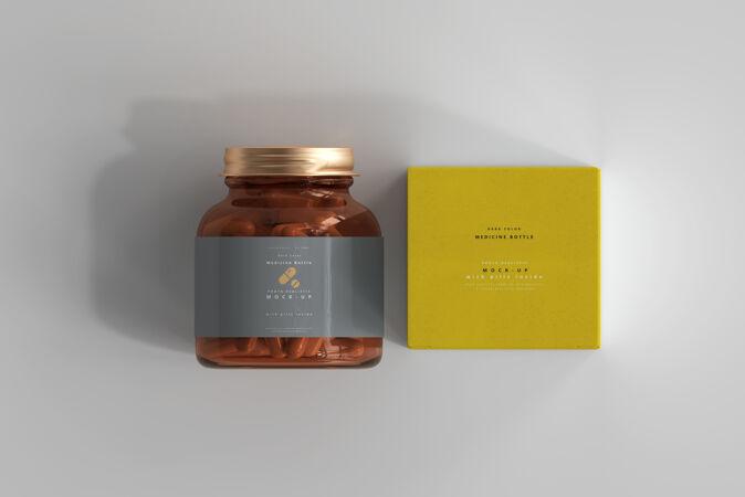 琥珀药瓶和药盒模型